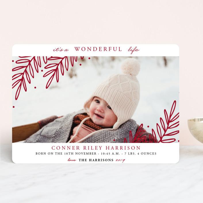 """""""So Wonderful!"""" - Holiday Birth Announcements in Blush by Oma N. Ramkhelawan."""