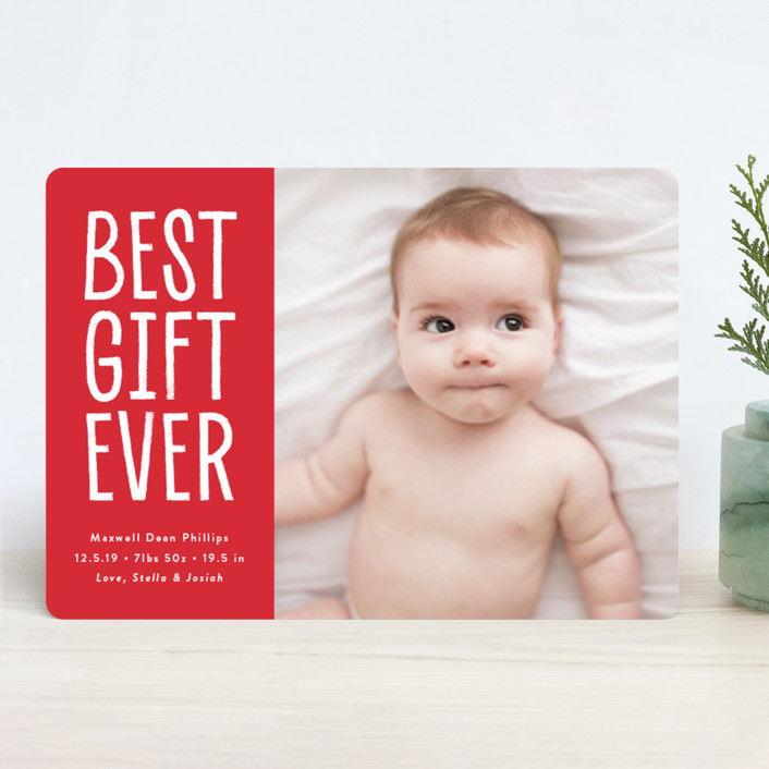 """baby gift"" - Holiday Birth Announcements in Berry by Susan Asbill."