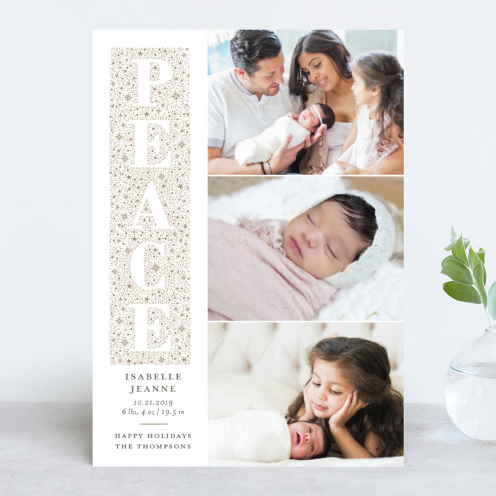 """""""Knockout"""" - Holiday Birth Announcements in Champagne by Sarah Brown."""