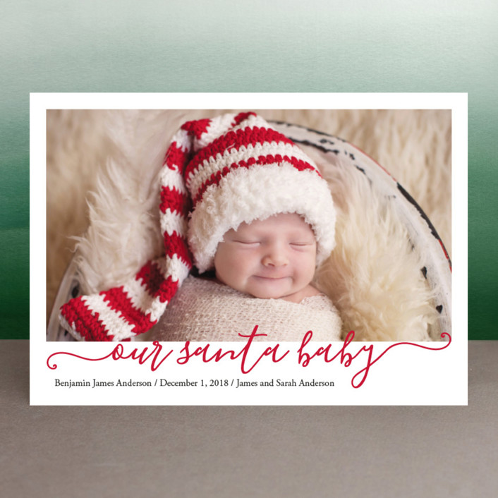 """Our Santa Baby"" - Holiday Birth Announcements in Berry by Meredith Collie."