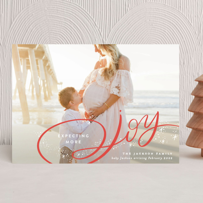 """""""Expecting More Joy"""" - Holiday Birth Announcements in Peach by Alethea and Ruth."""