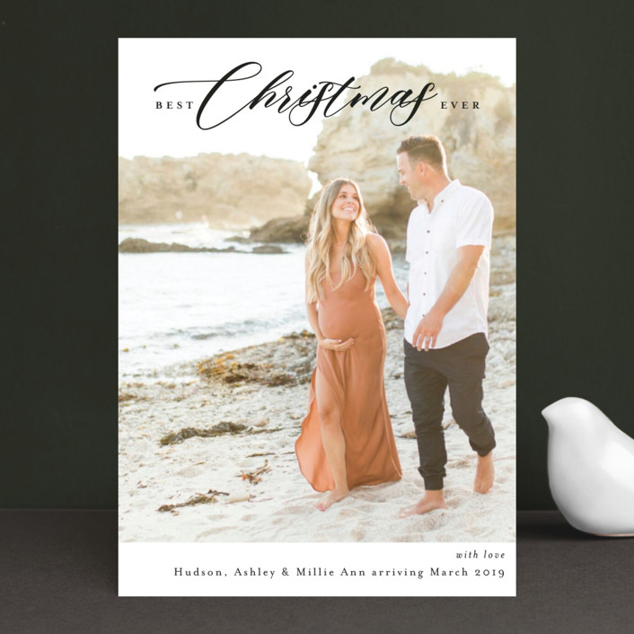 """""""Best Christmas Yet"""" - Holiday Birth Announcements in Onyx by Kasia Labocki."""