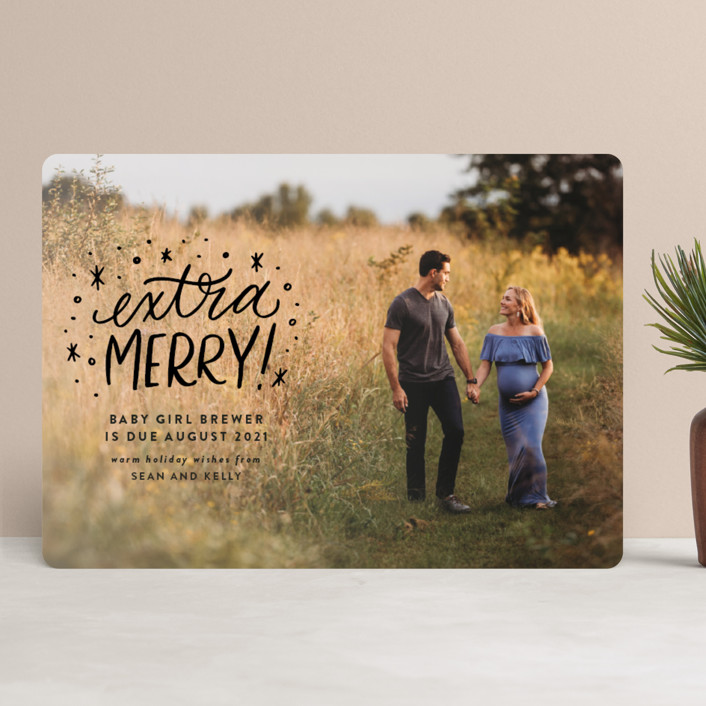 """""""Extra Merry"""" - Bohemian Holiday Birth Announcements in Jet Black by Ink and Letter."""
