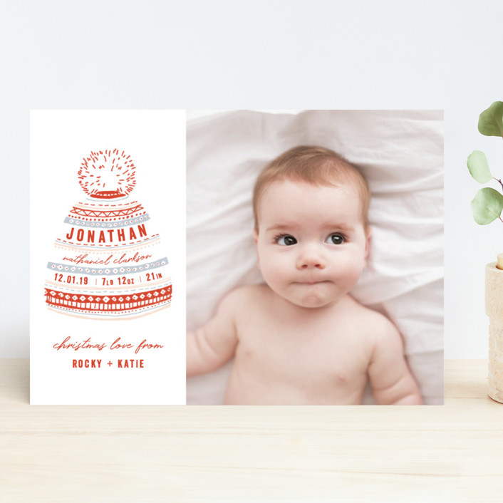 """Baby Beanie"" - Bohemian Holiday Birth Announcements in Holly by Krissy Bengtson."