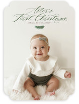 This is a green babys first christma by Sarah Brown called First Scriptmas with standard printing on smooth signature in standard.