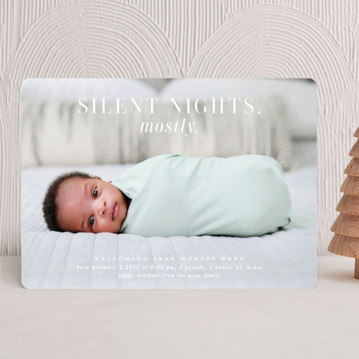 """Mostly Silent Nights"" - Holiday Birth Announcements in Snow by Lori Wemple."