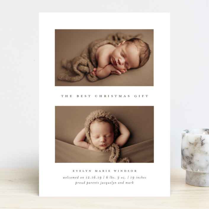 """The Best Gift"" - Holiday Birth Announcements in Mocha by Bethany McDonald."