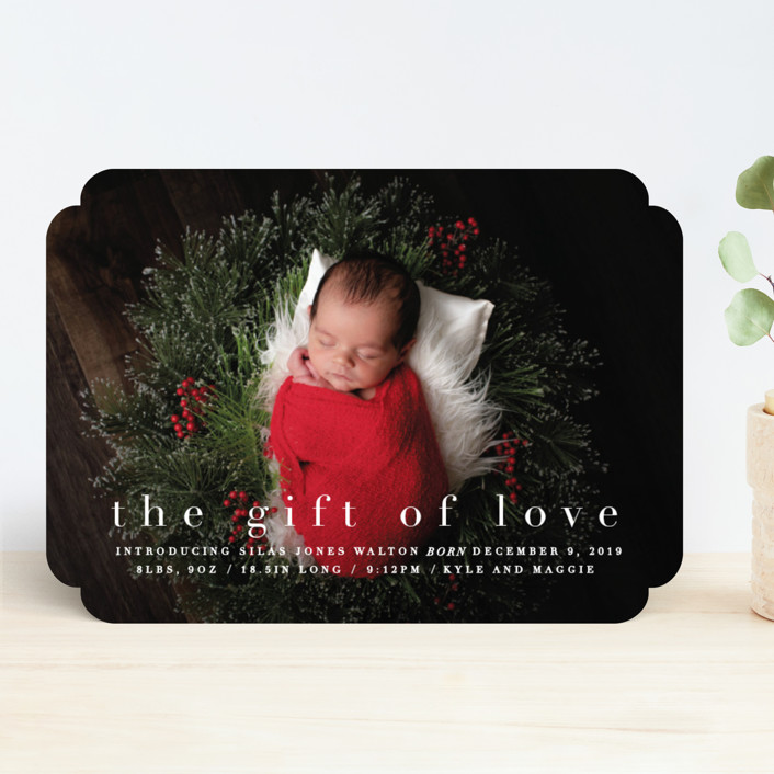 """the gift of love"" - Holiday Birth Announcements in Blizzard by Bethany Anderson."