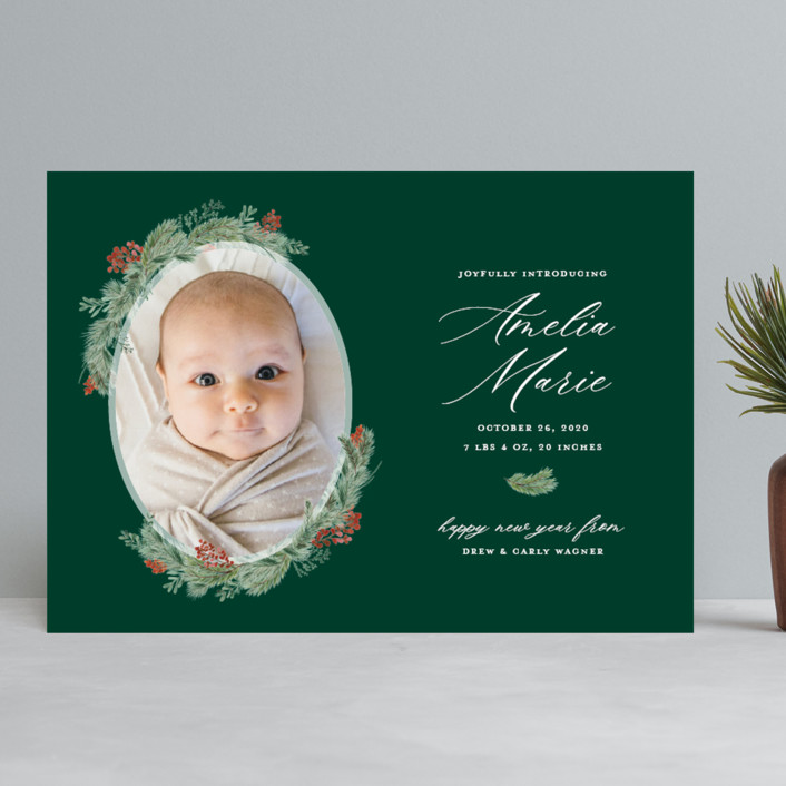 """Joyful Introduction"" - Holiday Birth Announcements in Pine by Sarah Brown."