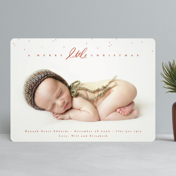 """Little Script"" - Holiday Birth Announcements in Berry by Julie Murray."