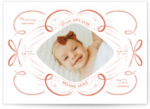 This is a red babys first christma by Nicole Barreto called Ribbons and Bows with standard printing on smooth signature in standard.