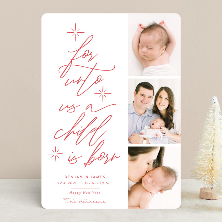"""For Unto Us A Child Is Born"" - Bohemian Holiday Birth Announcements in Berry by Nicole Barreto."