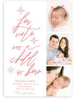 This is a red babys first christma by Nicole Barreto called For Unto Us A Child Is Born with standard printing on smooth signature in standard.