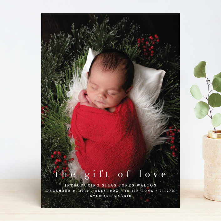 """""""the gift of love"""" - Holiday Birth Announcements in Blizzard by Bethany Anderson."""