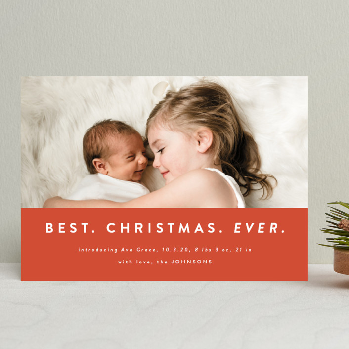 """""""color block Christmas"""" - Funny Holiday Birth Announcements in Holly by Kasia Labocki."""