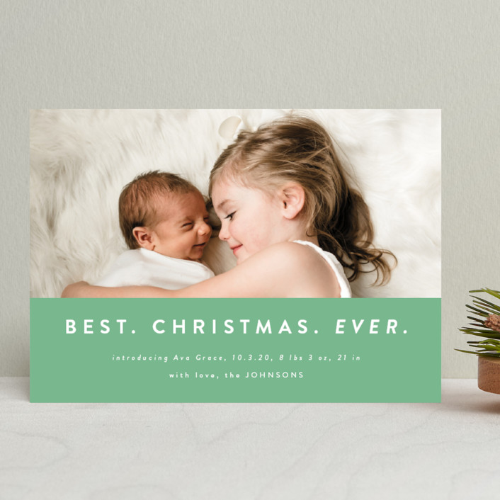 """""""color block Christmas"""" - Modern Holiday Birth Announcements in Spruce by Kasia Labocki."""