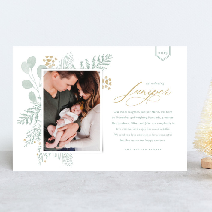 """Juniper"" - Holiday Birth Announcements in Golden by Oscar & Emma."