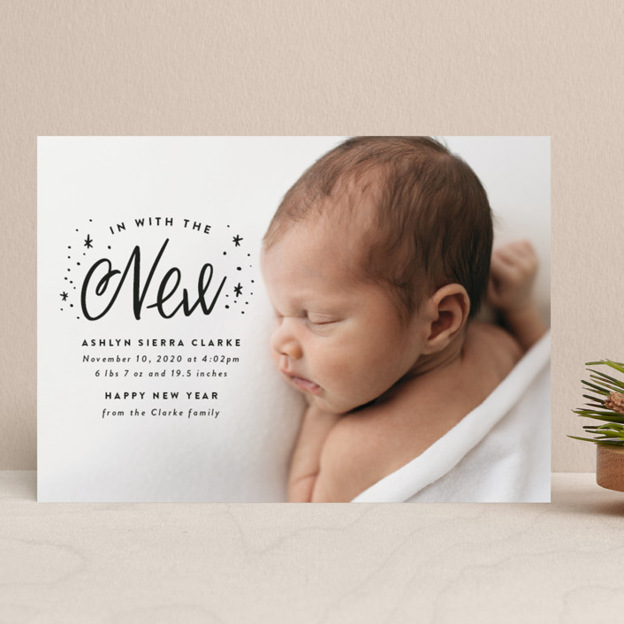 """""""In With the New"""" - Bohemian Holiday Birth Announcements in Onyx by Ink and Letter."""