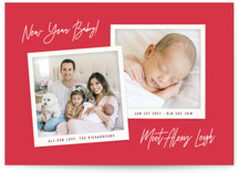 This is a red babys first christma by Hooray Creative called New Year Baby with standard printing on signature in standard.