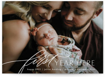 This is a white babys first christma by Erin L. Wilson called First Year Here with standard printing on signature in standard.