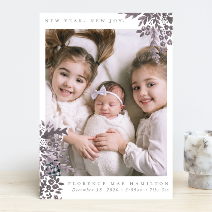 """New Year. New Joy"" - Holiday Birth Announcements in Plum by Hudson Meet Rose."
