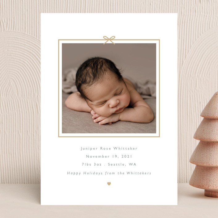 """""""All Wrapped Up"""" - Holiday Birth Announcements in Gingerbread by Hudson Meet Rose."""