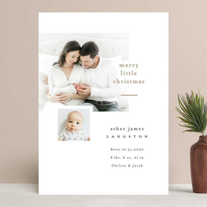 """""""Merry Little Christmas"""" - Holiday Birth Announcements in Snow by Pink House Press."""