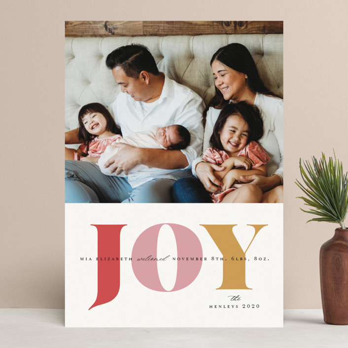 """""""Joyful Arrival"""" - Modern Holiday Birth Announcements in Winter Rose by Little Print Design."""