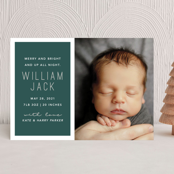 """Up All Night"" - Modern Holiday Birth Announcements in Juniper by Hudson Meet Rose."