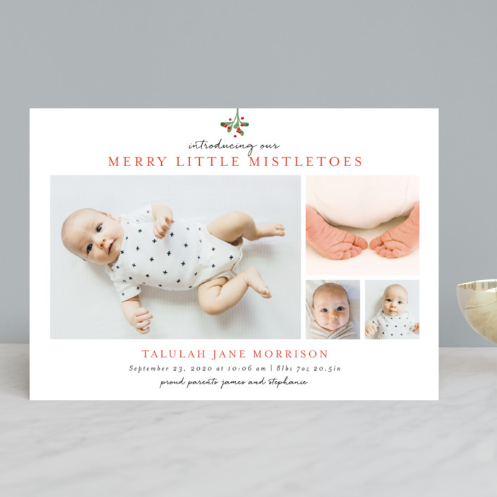 """Merry Little Mistletoes"" - Modern Holiday Birth Announcements in Berry by Melissa Egan of Pistols."