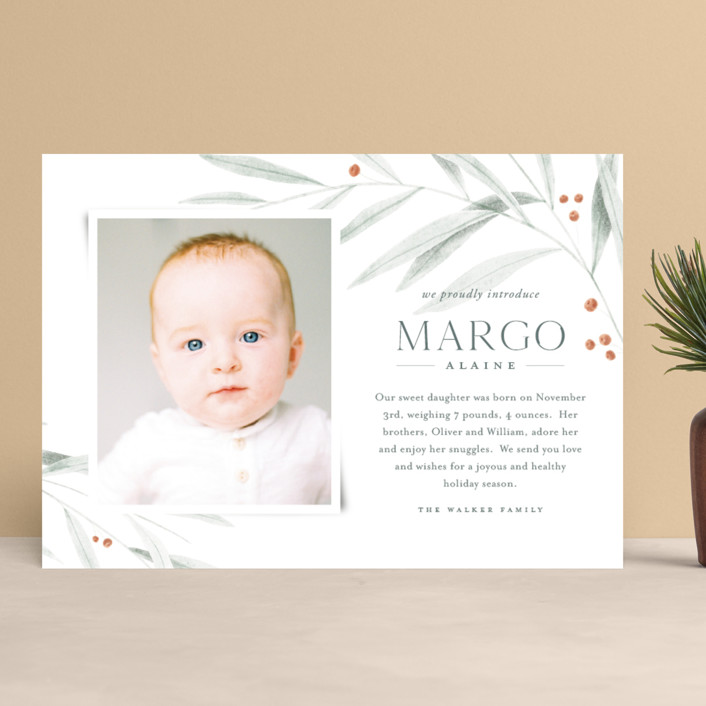 """""""Joyous Occasion"""" - Holiday Birth Announcements in Sage by Oscar and Emma."""