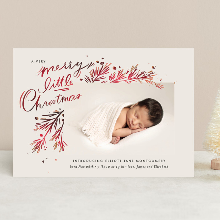 """""""A Little Christmas"""" - Vintage Holiday Birth Announcements in Scarlet by Julie Murray."""