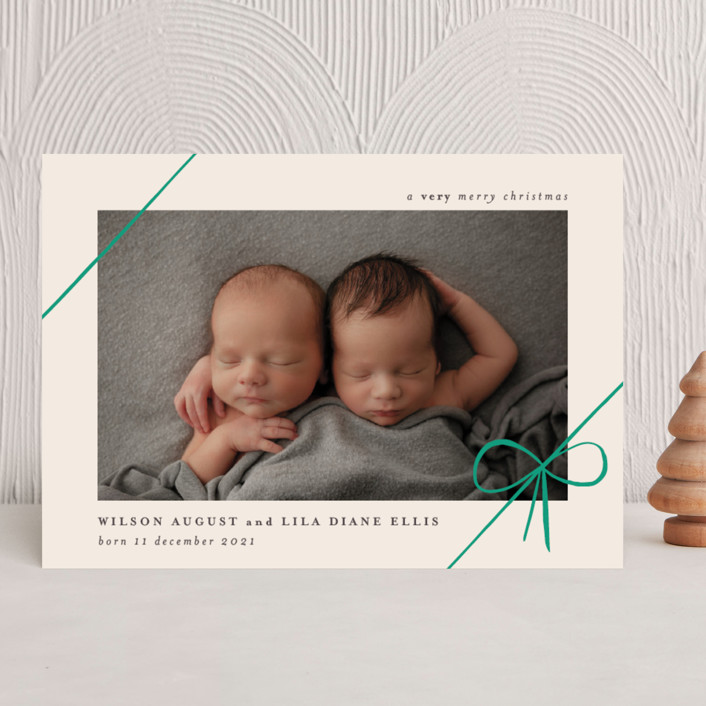 """""""Gifts"""" - Holiday Birth Announcements in Emerald by Rebecca Daublin."""