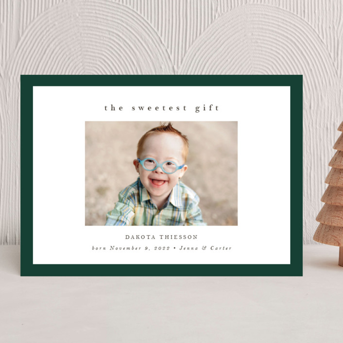 """Sweetest Gift"" - Holiday Birth Announcements in Forest by Nicole Walsh."