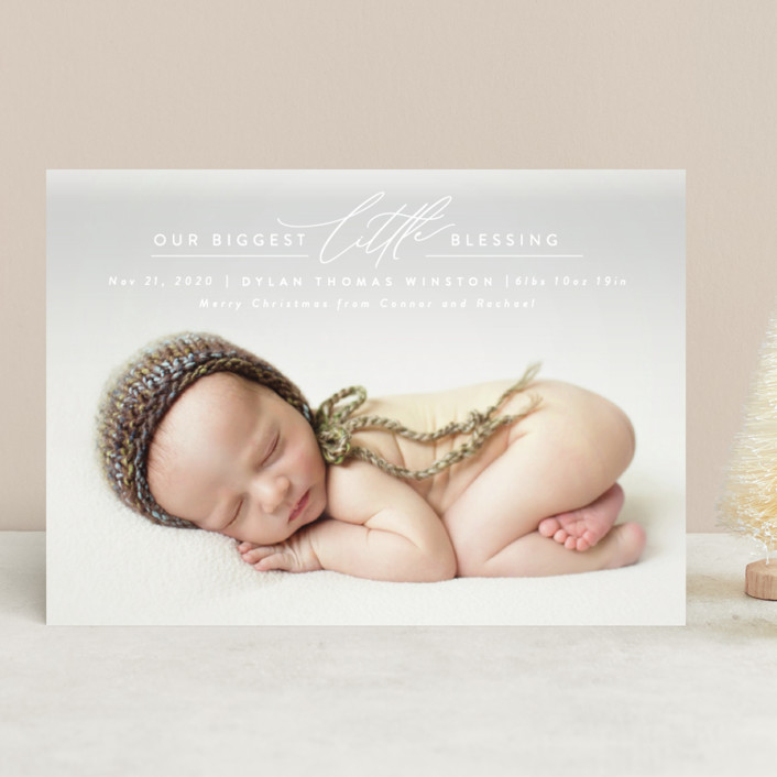"""Biggest Little Blessing"" - Holiday Birth Announcements in Snow by Ink and Letter."