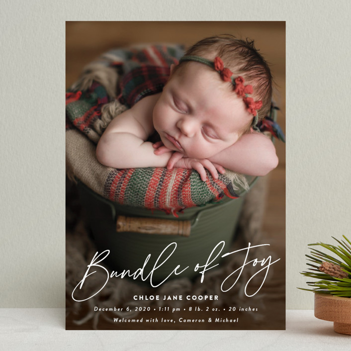 """Joyful Bundle"" - Holiday Birth Announcements in Winter by Susan Asbill."