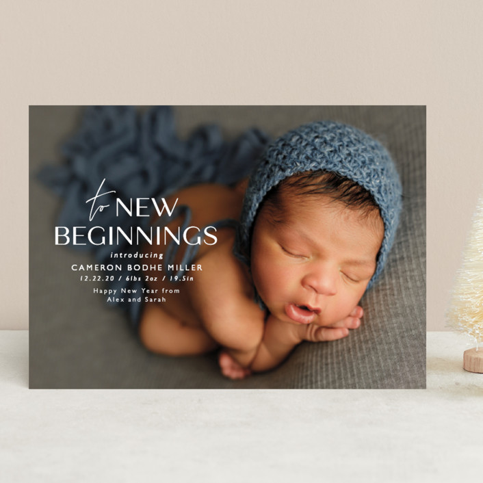 """""""To New Beginnings"""" - Holiday Birth Announcements in Linen by Ink and Letter."""