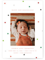 This is a red babys first christma by Katie Zimpel called Happy New Beginnings with standard printing on smooth signature in standard.