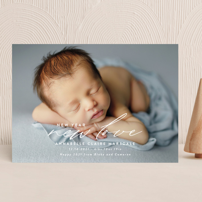 """""""New Love"""" - Holiday Birth Announcements in Cotton by Ink and Letter."""