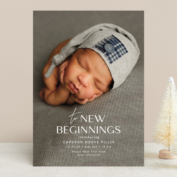 """To New Beginnings"" - Holiday Birth Announcements in Linen by Ink and Letter."