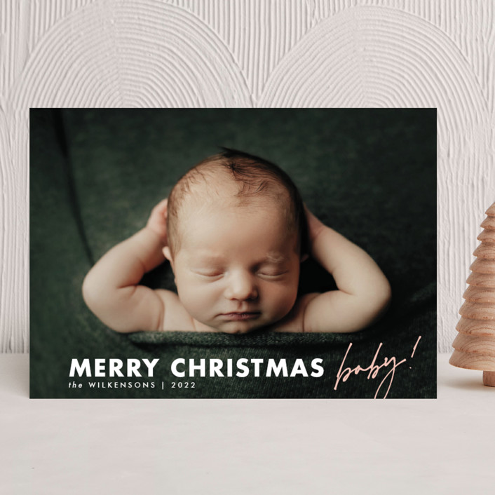 """""""merry christmas baby"""" - Holiday Birth Announcements in Blush by Kamala Nahas."""