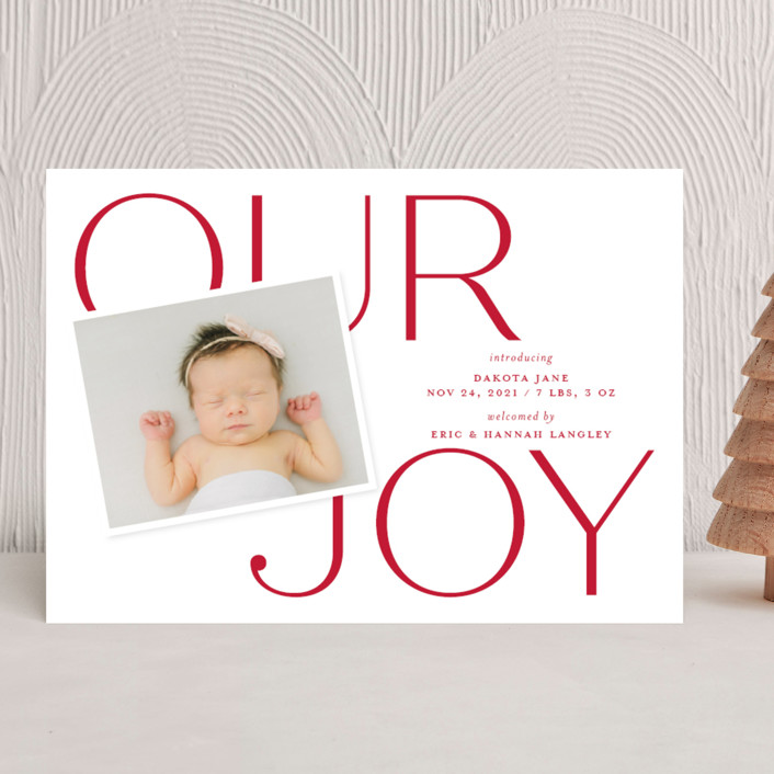 """""""Our Greatest Joy"""" - Holiday Birth Announcements in Poinsettia by Sandra Picco Design."""