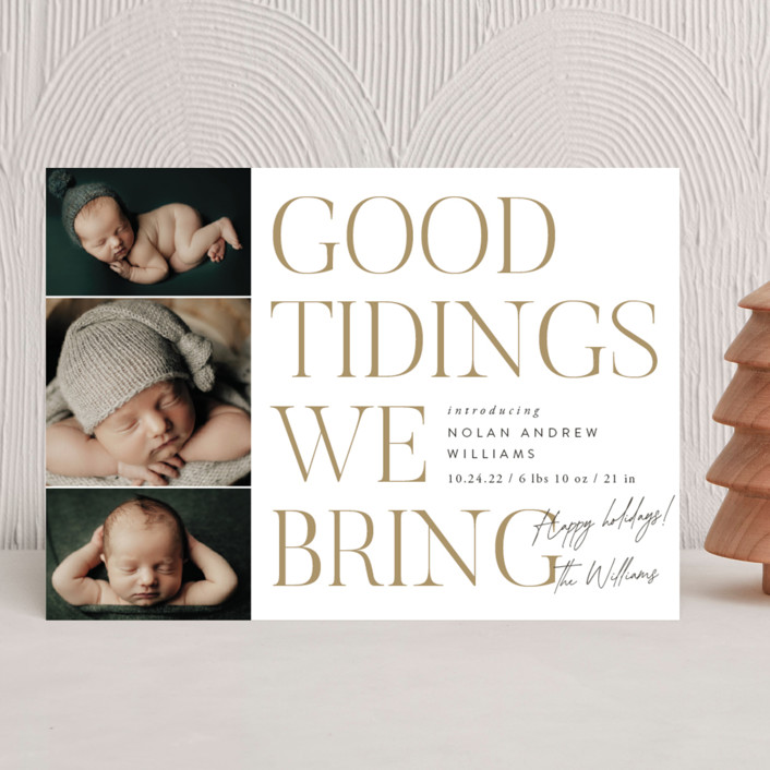 """""""Good Tidings We Bring"""" - Holiday Birth Announcements in Snow by Robert and Stella."""
