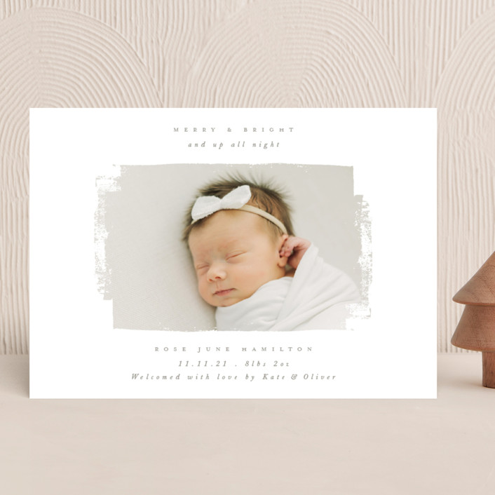 """""""Festive Swatch"""" - Vintage Holiday Birth Announcements in Tinsel by Caitlin Considine."""
