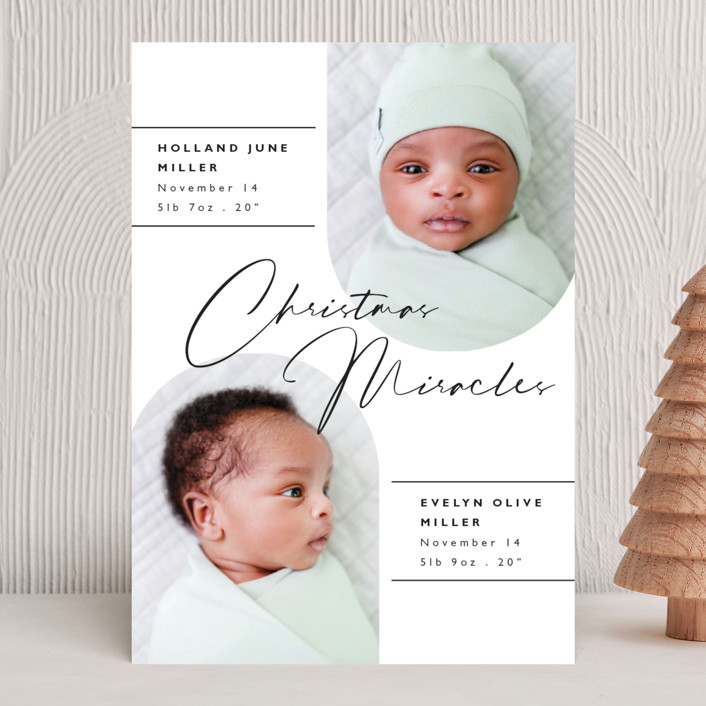 """""""Christmas Miracles"""" - Holiday Birth Announcements in Coal by Caitlin Considine."""