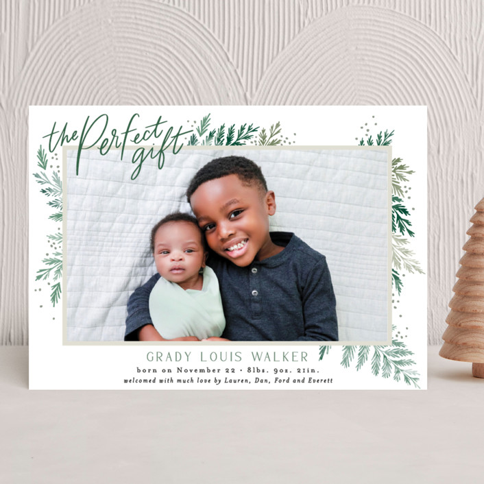 """""""The Perfect Gift"""" - Holiday Birth Announcements in Pine by Alethea and Ruth."""