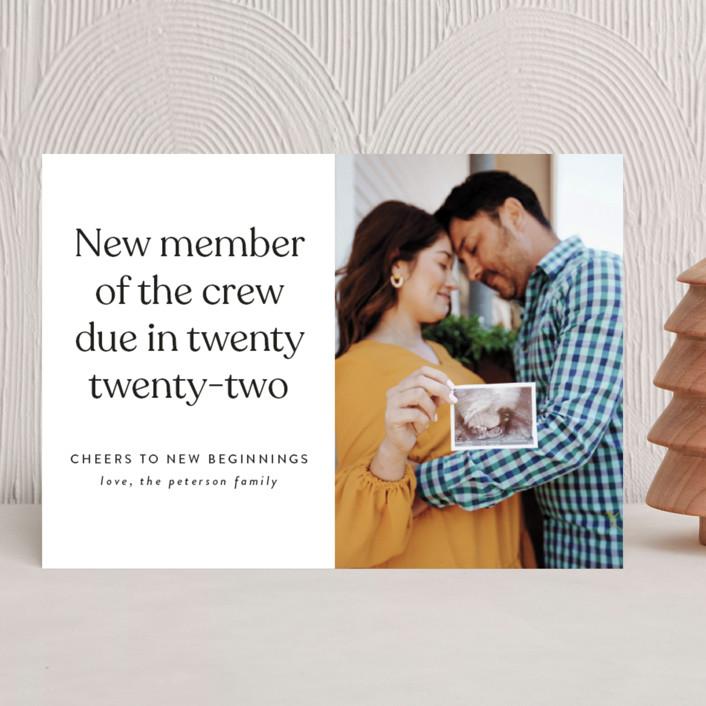 """New Crew"" - Holiday Birth Announcements in Winter by Heather Schertzer."