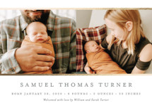 Classic Stripes Foil-Pressed Birth Announcement Petite Cards