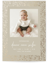 This is a brown foil stamped birth announcement by JoAnn Jinks called speckle with foil-pressed printing on doublethick in petite.