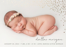Golden Dots Foil-Pressed Birth Announcement Cards By Erin Deegan
